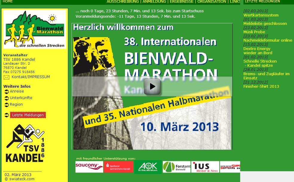 Webseite Bienwald Marathon Kandel 2013